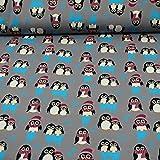 Sweatstoff Toto, Ökotex 100, Pinguine, beere (25cm x 150cm)