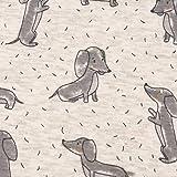 SCHÖNER LEBEN. Sweatstoff Alpensweat Hund Dackel Creme grau meliert...