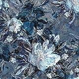 Schickliesel French Terry Stoff Meterware Herbstblütentraum (blau)