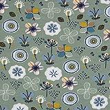 SCHÖNER LEBEN. Bio-Sweatstoff Soft Sweat Bio GOTS Blumen abstrakt...