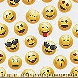 ABAKUHAUS emoticon Gewebe als Meterware, Lächelnde Gesichter Gefühle...